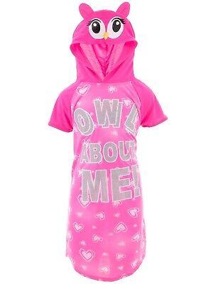 Pink Nightgown Girls (Sweet N Sassy Girls Owl About Me Pink Hooded Nightgown Animal Sleep Shirt)