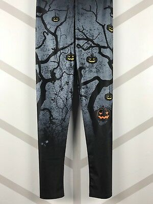 Halloween Leggings Creepy Pumpkins Trees Black Gray Orange S - XL FREE - Black Pumpkins Halloween