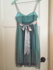 Gorgeous Like New Pewter/Mint Cocktail Dress Sz S