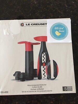 Le Creuset Wine Accessories  Starter Corkscrew Foil Cutter Wine Pump Cherry Red