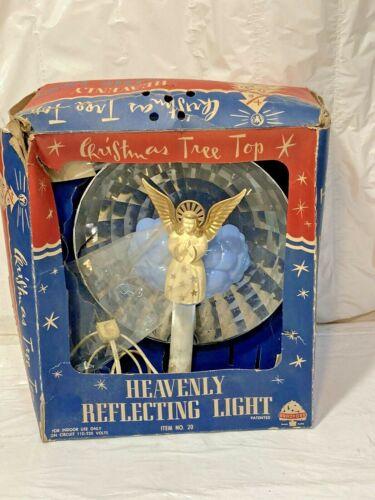 Vtg BRADFORD HEAVENLY REFLECTING ANGEL LIGHT Xmas Tree Topper w Box (No Spinner)