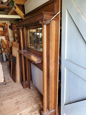 Oak Fireplace Mantle Antique BELL FLOWER salvage TIGER architectural 7'-1