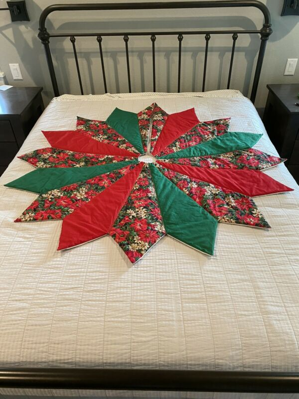 Vintage Hand Made Quilted Christmas Tree Skirt