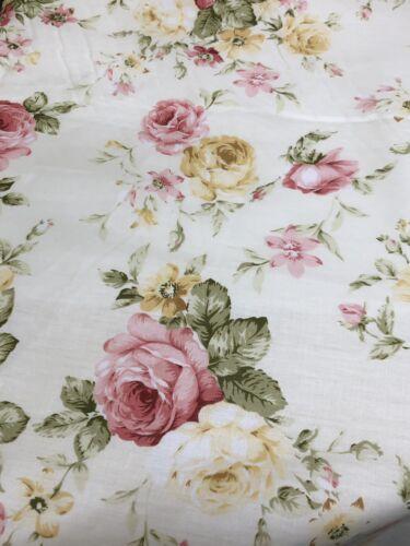 Vintage Cottage Chic Roses Quality Cotton. Gorgeous Shabby C