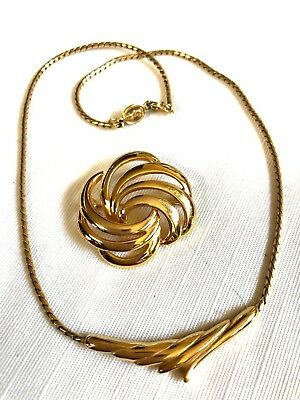 60s -70s Jewelry – Necklaces, Earrings, Rings, Bracelets Vintage 1960's  Napier Lot of 2 Gold tone Necklace & pin brooch $38.25 AT vintagedancer.com