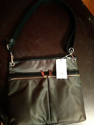 A New Day Olive Green 100% Polyester Purse w/ Black Shoulder Strap Zip Closure
