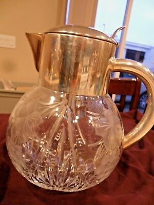 SILVER PLATED CUT ENGRAVED GRAPES/VINES CRYSTAL HANDLED PITCHER MADE IN GERMANY