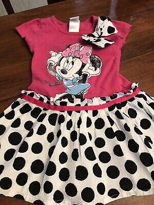 Disney Minnie Mouse Dress Pink & Black Polka Dots Girls Size 4T (9)