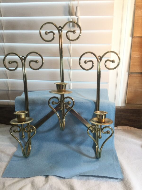 Home Interiors Brass Adjustable 3 Candle Holders Wall Sconces