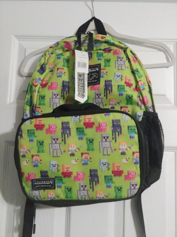JINX Minecraft Video Game Backpack with Matching Lunch Box Bright Green