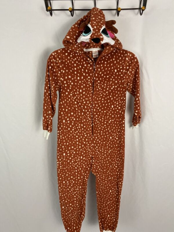 Cat & Jack One Piece Deer Hooded Pajama Fleece M 7/8