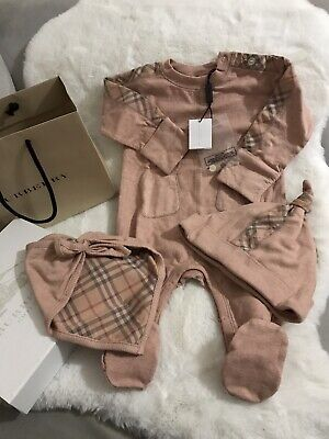 Burberry Pink Gift Set Baby Romper Hat Bib Boxed With Bag 6 Months BNWT