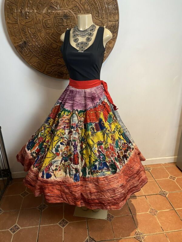 TEL-ART Vintage Mexican Full Circle Skirt Hand Painted With Sequins Small