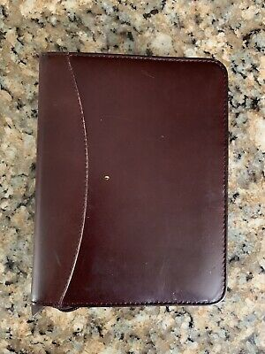 Franklin Quest Burgandy Aniline Leather Zippered Binder Planner 6 Ring Vintage