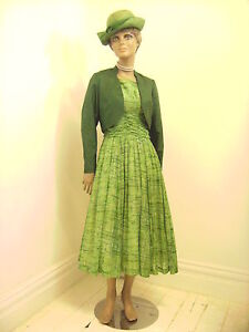 Original-Vintage-1950s-Betty-Carol-Light-Cotton-Day-Dress-With-Satin-Bolero