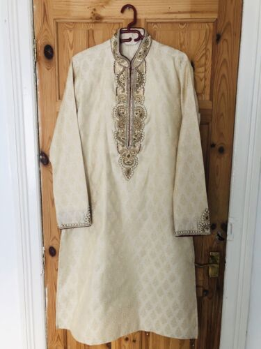 Bombay Stores Mens Wedding Sherwani 38 Gold/Cream Asian Grooms Pakistani/Indian