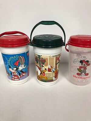 Disney Parks Popcorn Bucket with Lid Plastic Souvenir Set Of 3 Free Shipping](Plastic Popcorn Buckets)