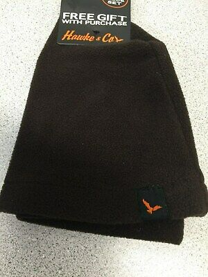 - NWOT Hawke & Co Men's Brown Fleece Solid Logo Beanie Hat       (107)