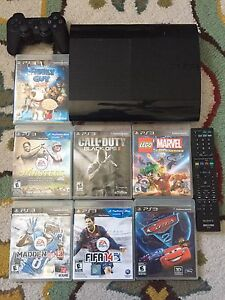 PS3 with 7 games, remote, and controller