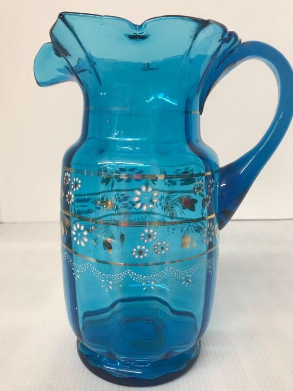 """Antique Victorian Ruffled Pitcher Blue Glass Enamel Hand-Painted  9"""" Tall"""