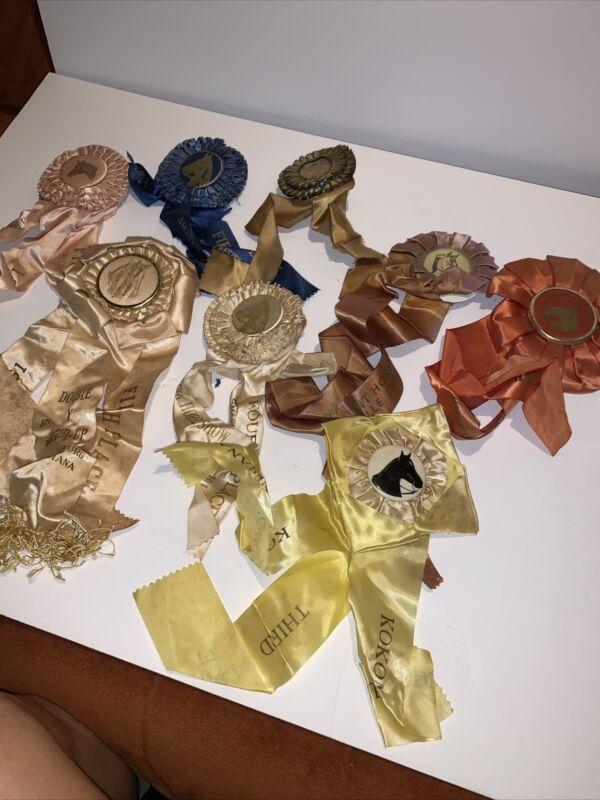 Lot   8 Vintage Rosette Equestrian Award Ribbons