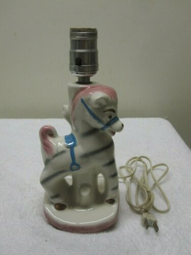 Vintage 1950s SHAWNEE Carousel Horse Pony Pottery Lamp Ceramic Pink Blue FINE!