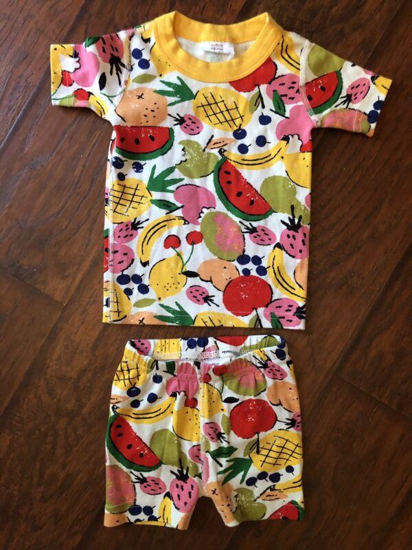 NWOTs Hanna Andersson FRUIT PAJAMA Shorts Shirt Organic Cotton Size 80 18-24 Mos