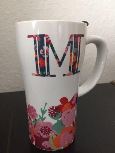 M Ceramic Mug Tumbler Insulated Travel Coffee Tall White Flo