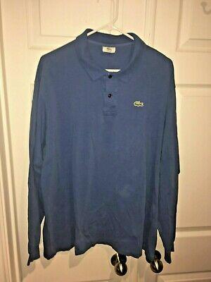 Lacoste Men Long Sleeve Blue Classic Fit Crocodile Cotton Polo Shirt Size 9 4XL