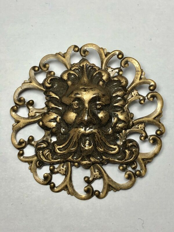 GREENMAN Tree Man BROOCH Renaissance Medieval Costume Gothic Brass Hat Pin