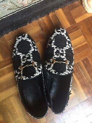 Gucci Women's Jordaan Black Tweed Loafers 37B