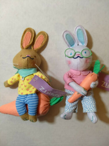2020 Spritz Easter Decor Bunny Rabbit Plush Beanie Set Lot Of 2