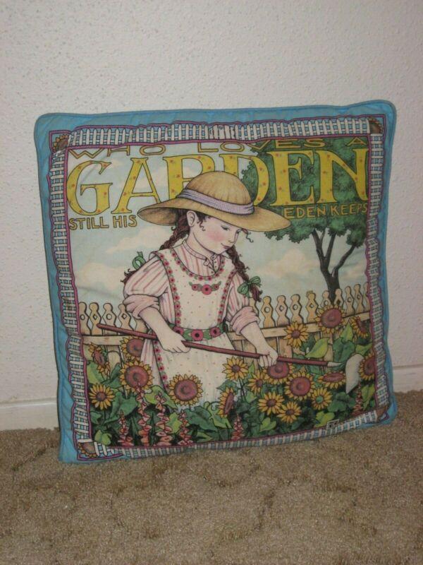Vintage Mary Englebreit Who Loves a Garden throw pillow girl garden USA