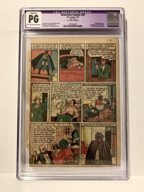 DETECTIVE COMICS #29 CGC PG - Page 4 ONLY - 3rd APP OF BATMAN! 1st App Dr Death