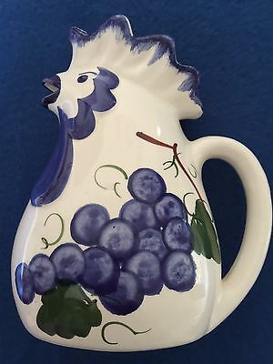 """Ceramic Chicken Pitcher White with Blue Grapes  7"""" Signed Fabbro Made in Italy"""