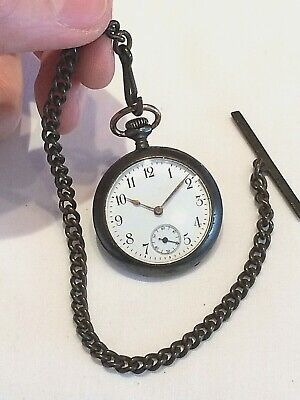 Antique Swiss OMEGA Gunmetal Pocket Fob Watch & Albert Chain
