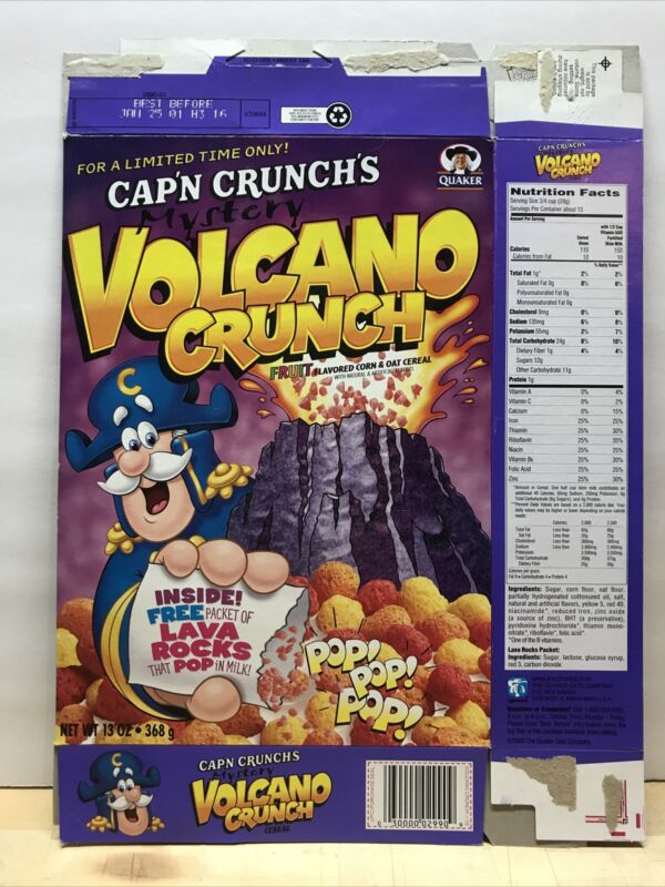 Vintage 2000 Cap'n Crunch Mystery Volcano Crunch Cereal Box Empty Flat BC