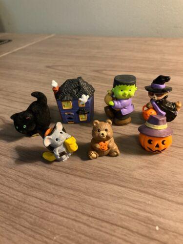 Hallmark Halloween Merry Miniatures, lot of 7, Haunted House, Cat, Frankenstein