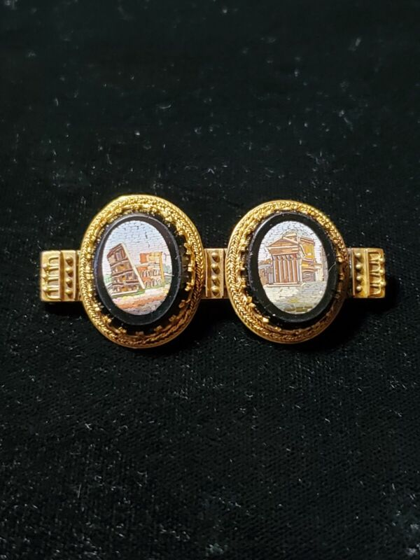 Victorian 14K Gold Onyx Rome Colosseum and Pantheon Micro Mosaic Bar Pin 10.2g