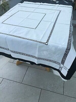 Vintage Drawthread & Embroidery Table Cloth, White 1.20x1.20cm