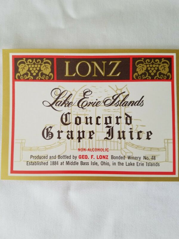 Lonz Non-Alcoholic Lake Erie Islands Geo F. Lonz Concord Grape Juice Label