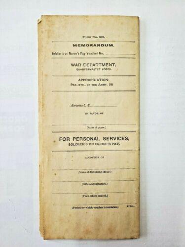 Original 1918 Memorandum War Department Quartermaster Corps. Army Pay Voucher
