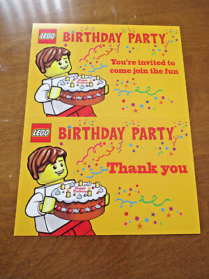 LEGO BIRTHDAY PARTY INVITATIONS THANK YOU CARDS BUNDLE x 10 - Lego Birthday Invitations