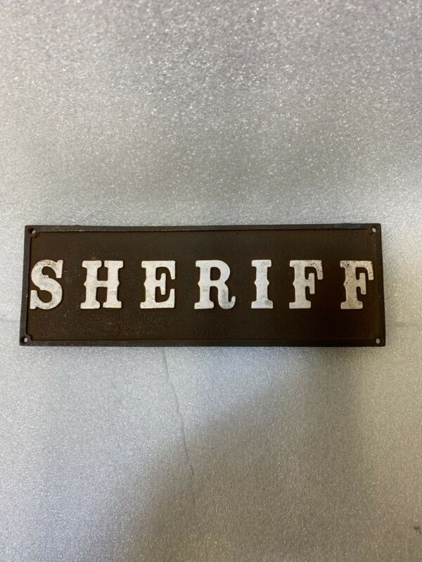 Sheriff Cast Iron Plaque Sign Heavy Duty Solid Metal