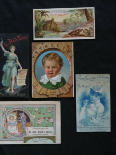 Vintage Trade Cards Tonics Druggists Colds and Flu Lot of 5