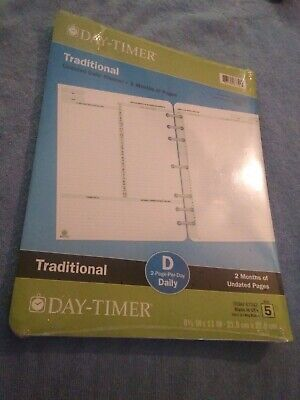 Day-timer Traditional Undated Planner Refills 87342 Size 5 2 Months 8.5x11