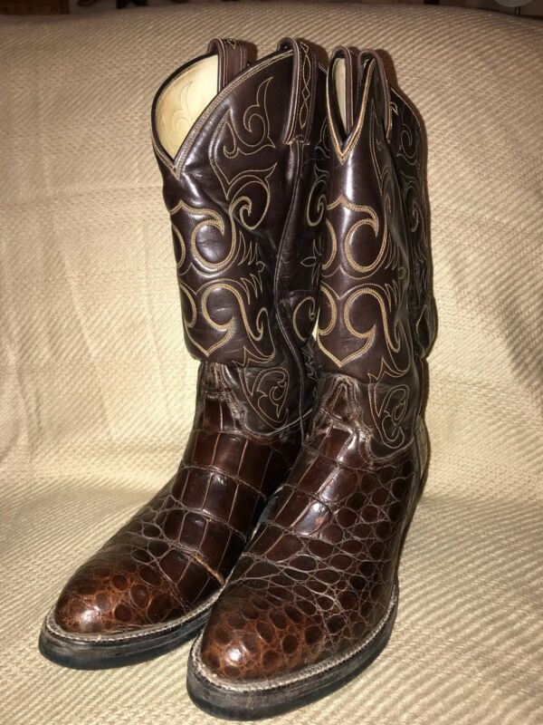 TONY, LAMA, EL, REY, 8284, American, Alligator, Belly, Brown, Men's, Cowboy, Boots, SZ, 8D