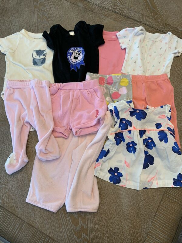 Baby Girl 3 Months short Sleeves Clothes Lot Of 10 Mixed Carters & Juicy Cout
