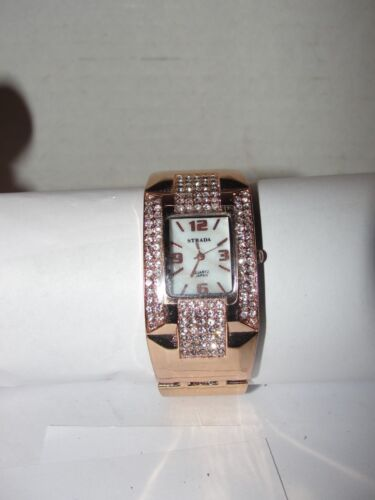 GOLD STRADA QUARTZ JAPAN CUFF WRIST WATCH - DIAMOND STONES