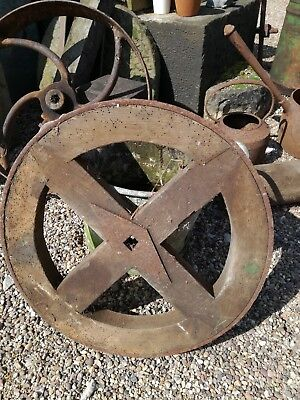 Antique oak wooden wheel from a cart